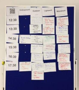 Eines der Boards mit all den angebotenen Vorträgen ... sorry, Sessions ;)