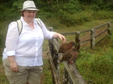 Mit einem Pärchen der hübschen Galapagos-Tauben