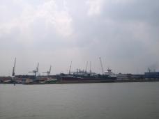 Unzählige Kräne im Hafen
