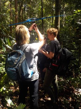 Kathrin (re) trakt mit uns nach ausgewilderten Plumploris und Gürteltieren, Regina (li) hält die Antenne