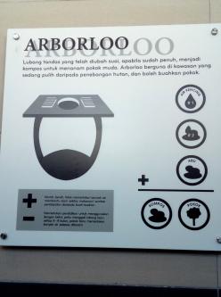 Ominöses Schild in einer öffentlichen Toilette. Die werden wohl - wenn sie voll sind - benutzt, um Bäume heranzuzüchten.