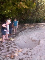 Ein Teil meiner Reisegruppe (Gudrun v., Angelika, Tom und Ralf) guckt in ein Loch, wo vor 2 Nächten eine Schildkröte ihre Eier reingelegt hat.