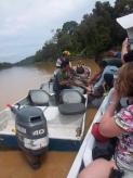 Mit vereinten Kräften wird der Hirsch in das Boot bugsiert