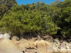Bei Ebbe werden die Felsen am Strand sichtbar
