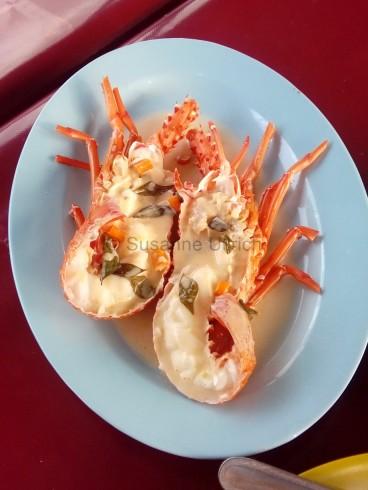 Mein Abendessen am Seri Selera, ein frischer kleiner Hummer