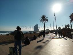 Unterwegs an der Promenade von Barcelona